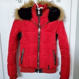 Rudsak red puffer coat with down, fur and leather
